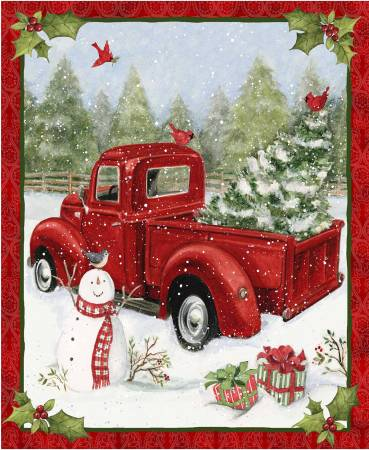 "Christmas Red Truck panel - 69167-D650715 - 36"" 91cm"