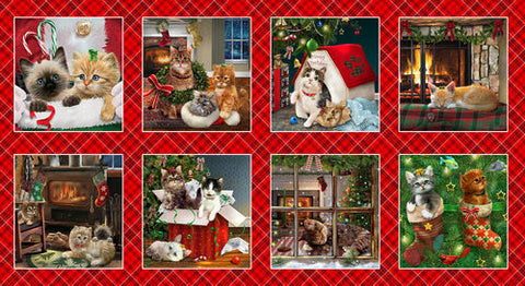 "Fire Side Kittens Blocks panel - 9056-88 - 24""(61cm)"