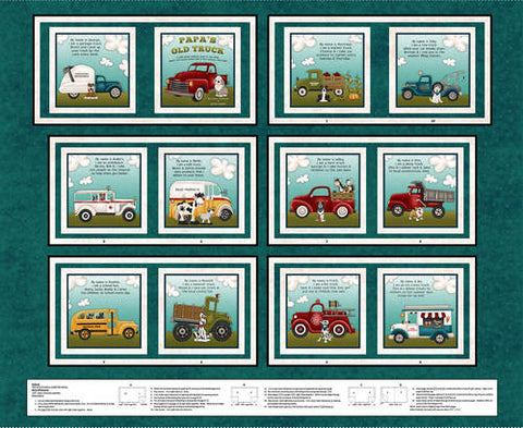 "Papa's Old Truck fabric book panel - 9162P-77 - 36""(91cm)"