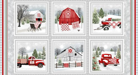 "Holiday Heartland panel - Red Grey - 9208-98 - 24""(61cm)"