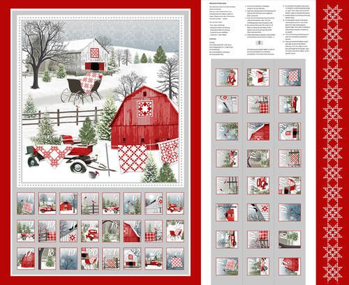 "Holiday Heartland Advent Calendar panel - Red Grey - 9220P-89 - 36""(91cm)"