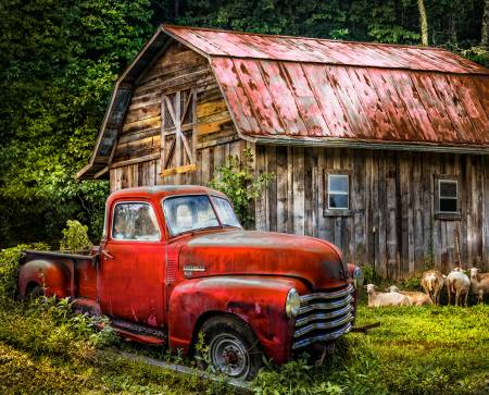 "Red Truck at the Barn digital panel - AL-3716-8C - 35.5""(90cm)"