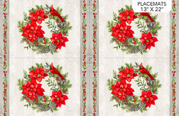 "The Scarlet Feather - Placemat - Pale Gray Multi - DP23481-91 - set of 2 - 14""(35.5cm)"