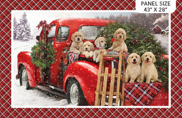 "Santa Helper panel- Labrador Christmas - Red Multi - DP23537-24 - 28""(71cm)"