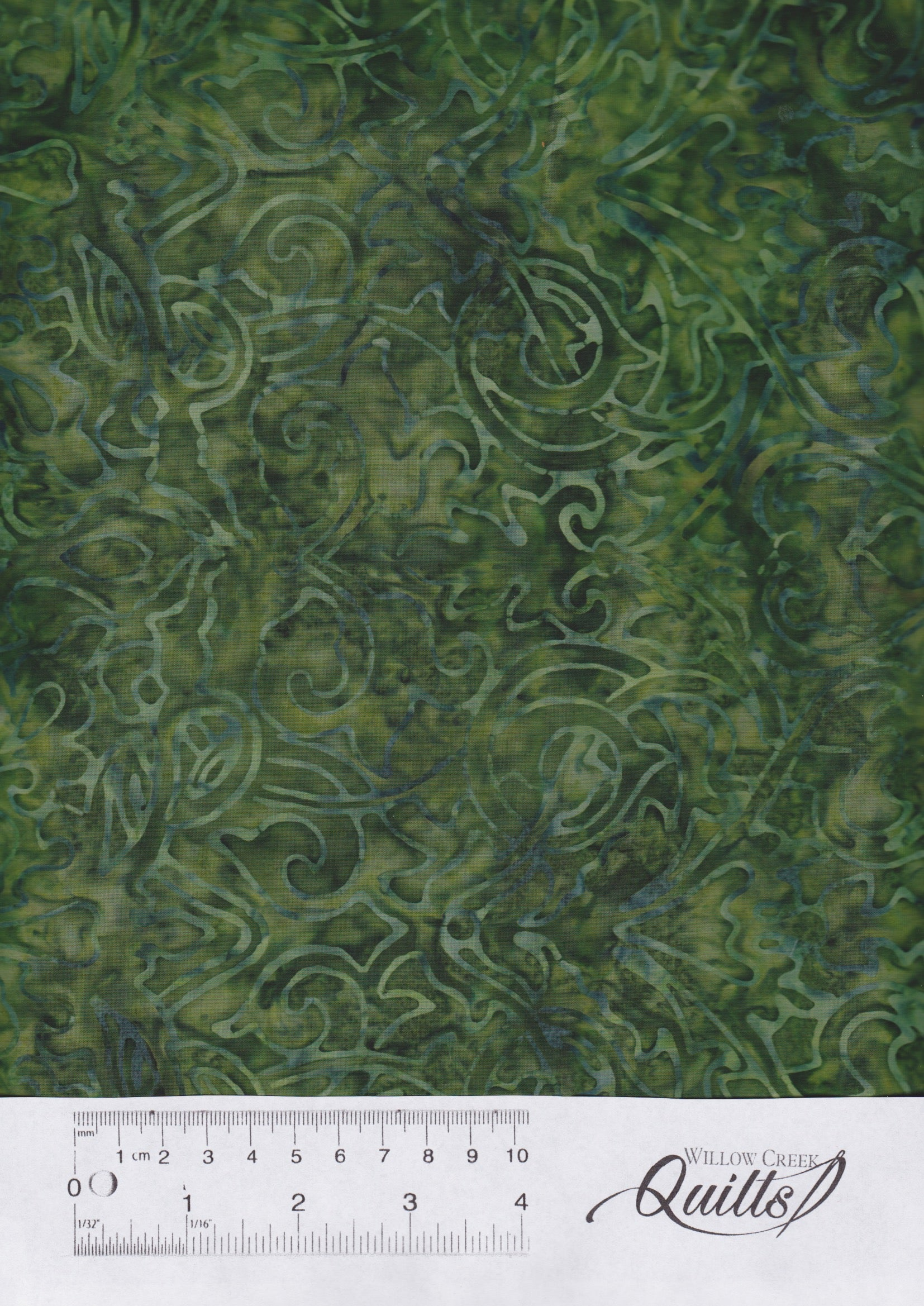 Malam Batiks V - 3282-04 - Scroll Olive Green