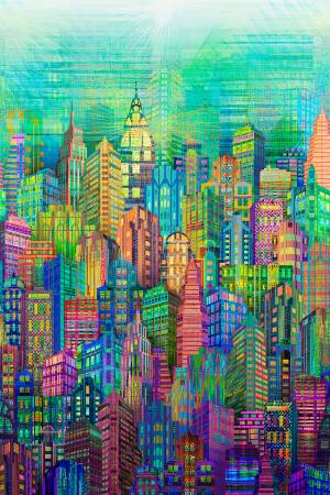 Multi Silver Skylines - Digital print - N4234 Multi Green