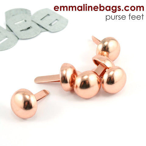"Domed Purse Feet - 1/2"" - Copper Finish - 6 pack"