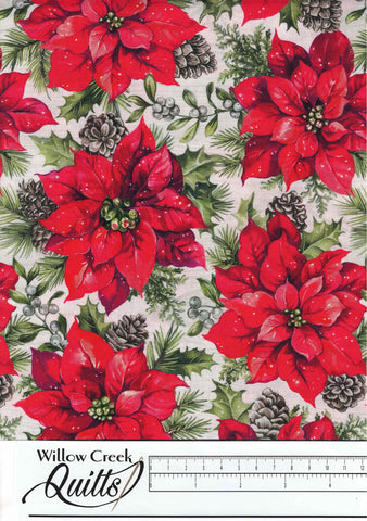 The Scarlet Feather - Poinsettia Toss - Pale Gray Multi - 23475-91