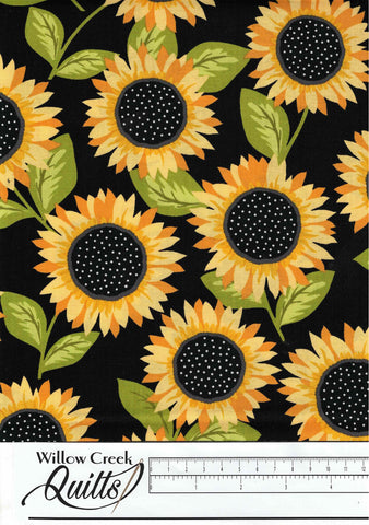 Sunny Bee - Sunflowers - Black - A9431-K