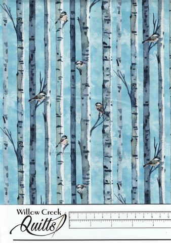 Christmas Woodland - Birch Bird Stripe - Light Blue Multi - 23526-42