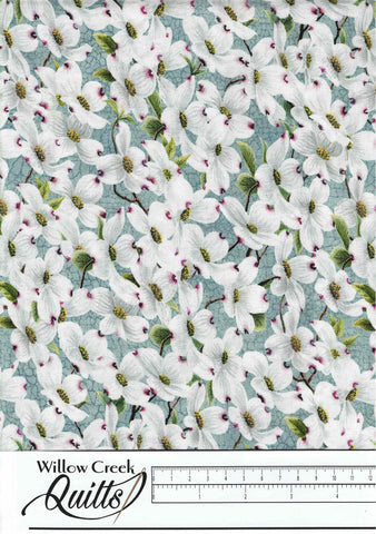 Joys of Spring - Dogwood Floral - Light Teal - 23008-62
