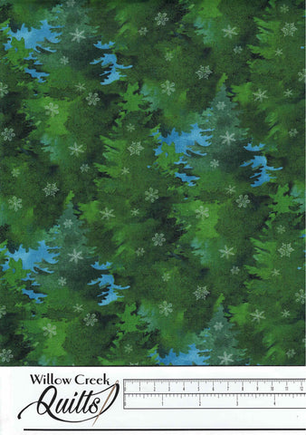 Christmas Woodland - Pine Trees - Green Multi - 23528-76