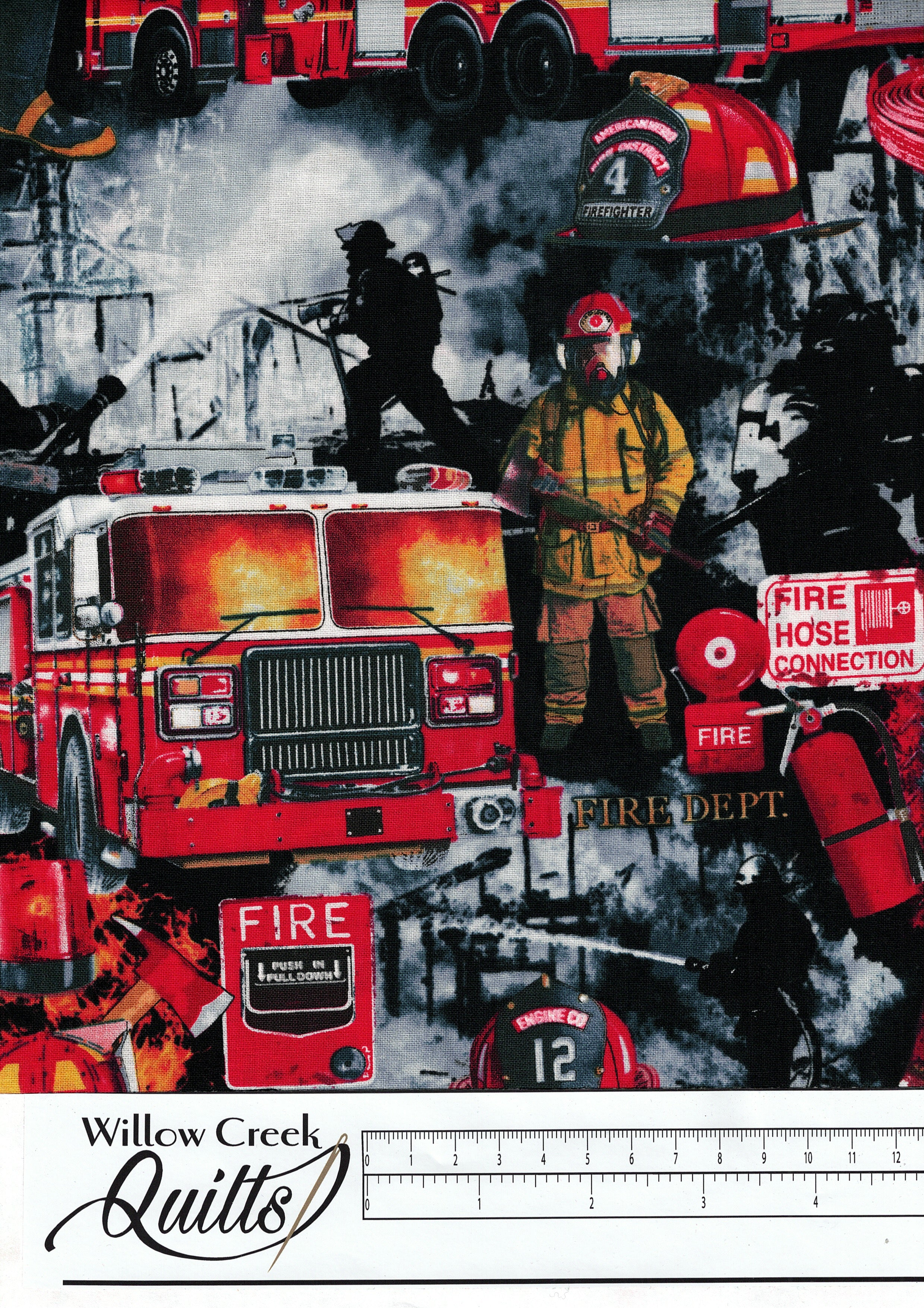 Fire and Rescue Firefighter Patchwork - Black - C7731