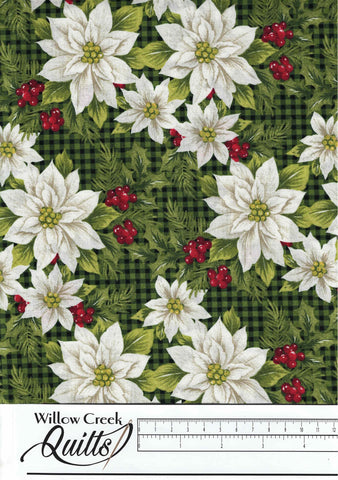 Farmhouse Christmas - Poinsettia Toss - Black Multi - 23494-99