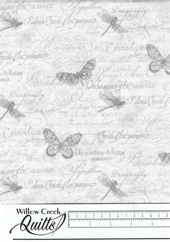 Orchids In Bloom - Butterfly Toile - White Gray - 23875-10