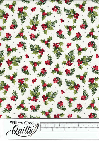 Farmhouse Christmas - Holly Toss - White Multi - 23496-10