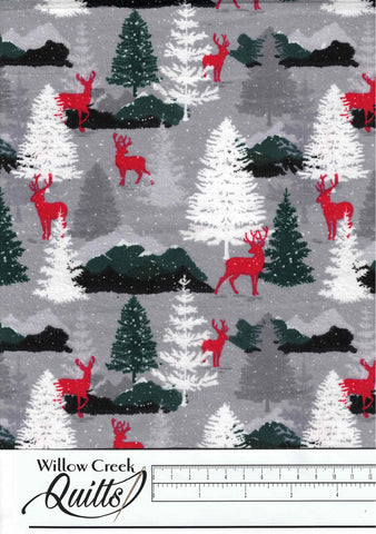 Grey Deer in Woods Craft Flannel - 1110020720