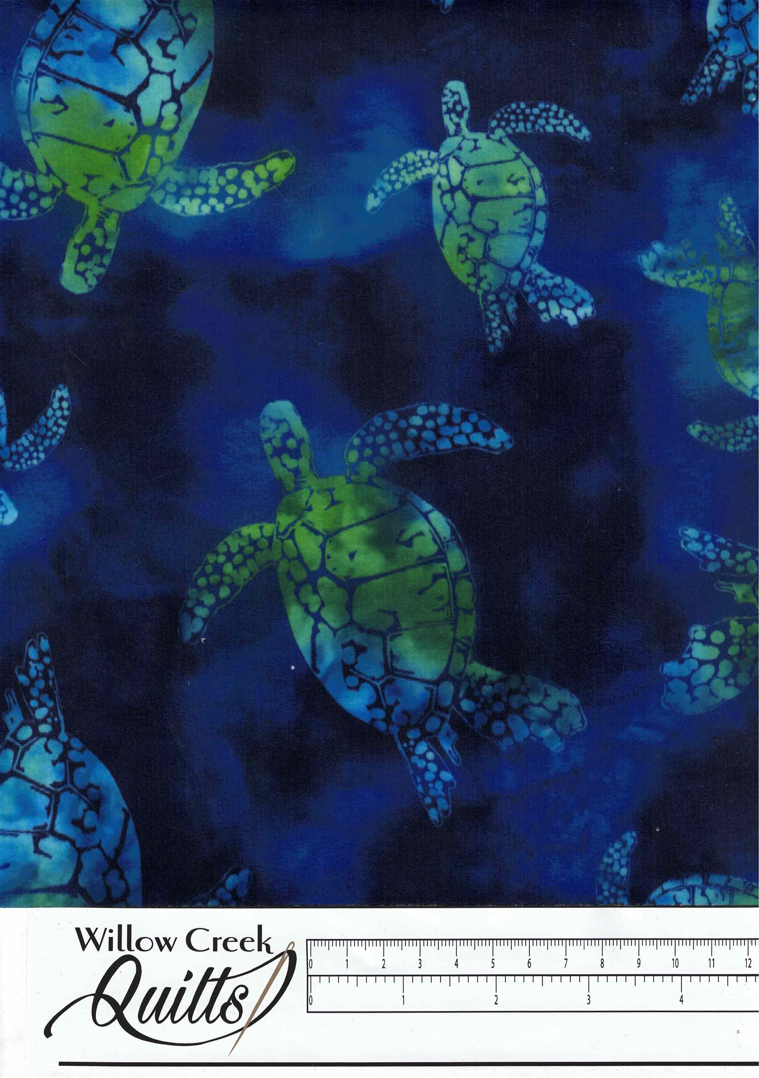 "Cuddle - Bliss Batik Green Sea Turtles - DR255732 - 60"" wide"