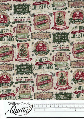 Vintage Christmas - Vintage Labels - Beige Multi - 23548-12