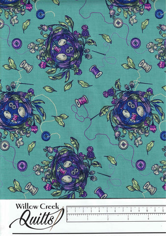 Stag and Thistle - Sew Bountiful - Dark Turquoise - 23306-66