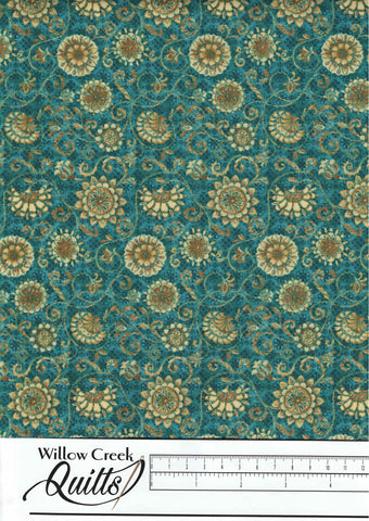 Peacock Pavillion - Small Medallion - Turquoise - 9858-70