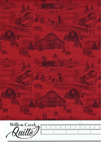 Holiday Heartland - Monotone Barns - Red - 9210-88