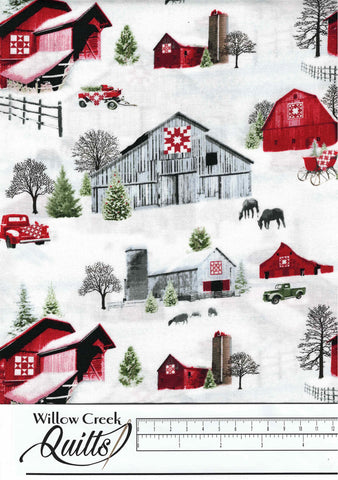Holiday Heartland - Scenic Barns - Gray Red - 9211-98