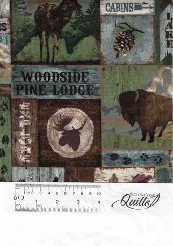 Outdoor Adventure flannel Block - Brown Multi - F23186-36
