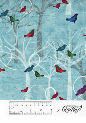 Autumn Hues - Trees and Birds - 4201 - 11 Blue