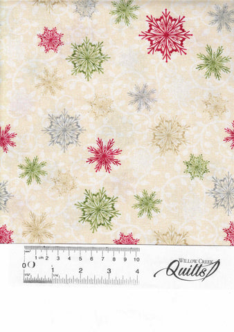 Winter Greetings Snowflakes- 4218-44 White