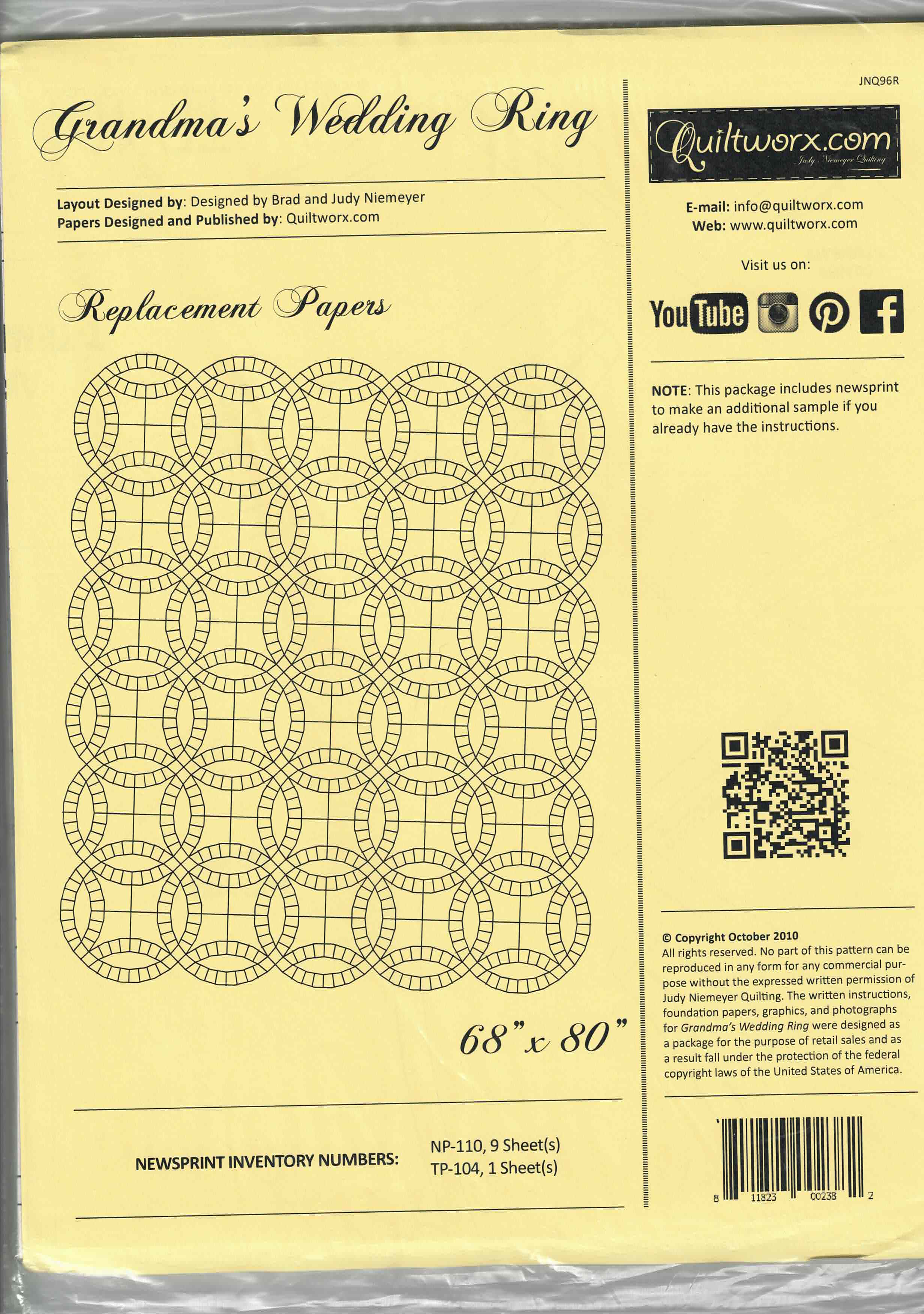 Grandma's Wedding Ring pattern - Replacement Papers
