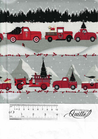 Holiday Road Trip - Grey Cars & Truck Stripe - 4682-89