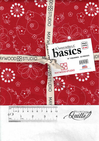 Kimberbell Basics - Black White and Red - layer cake - SQ-MASKIB-BWR