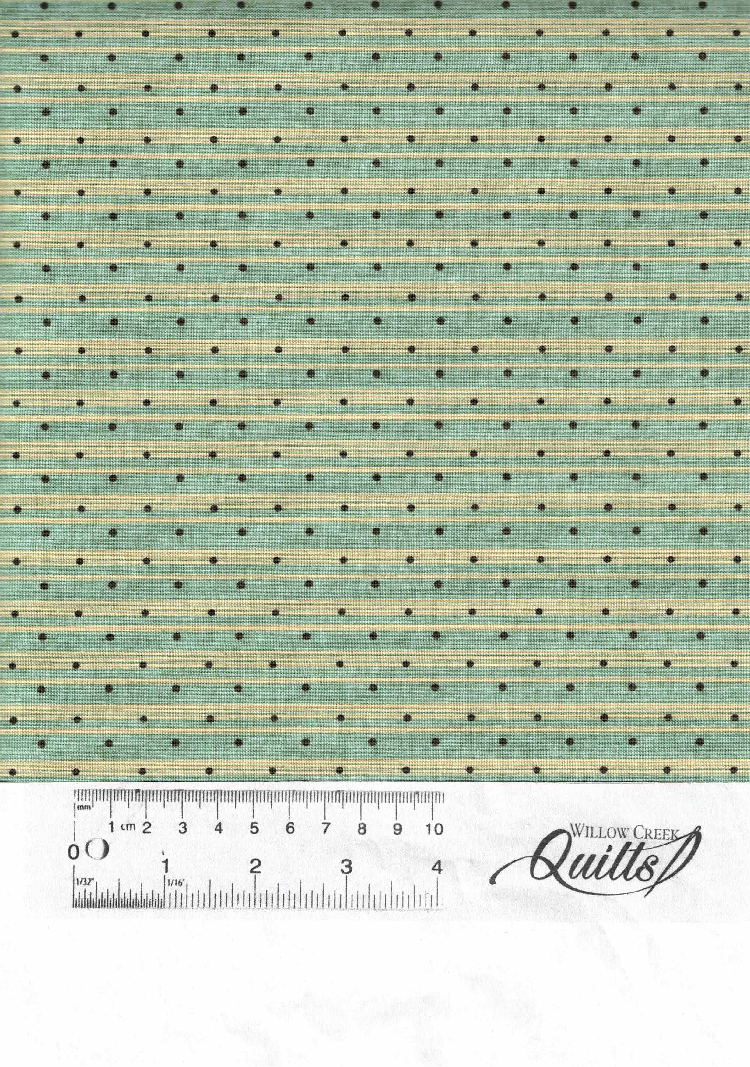 Sage and Sea Glass - Blue Dot Ticking Stripe - 1548-11