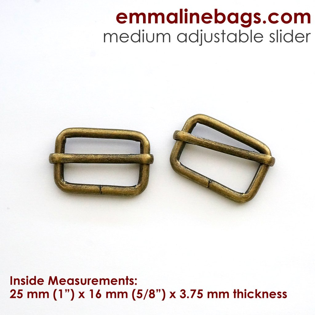 "Adjustable Strap Sliders 1"" - Antique Brass Finish - 2 Pack"