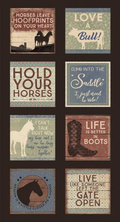 "Hold Your Horses panel - Brown - Y3105-15 - 24""(61cm)"