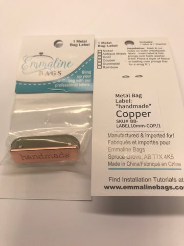 Rectangular Metal Bag Label - handmade - Copper Finish