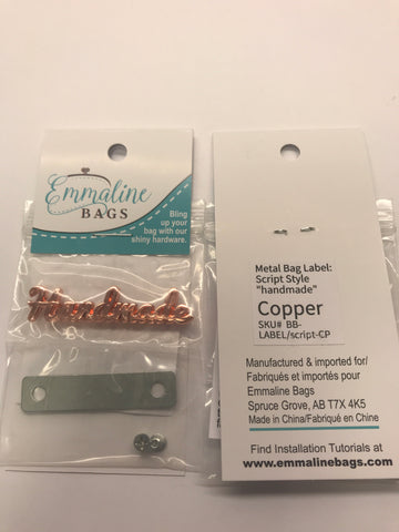 "Metal Script Bag Label ""Handmade"" - Copper Finish"