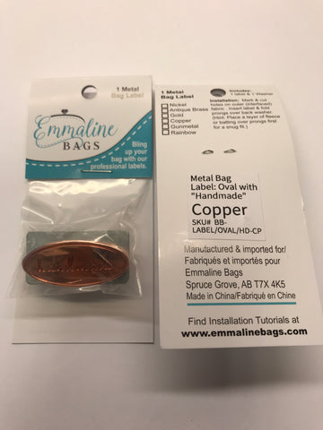 "Oval Metal Bag Label ""handmade - Copper Finish with washer"