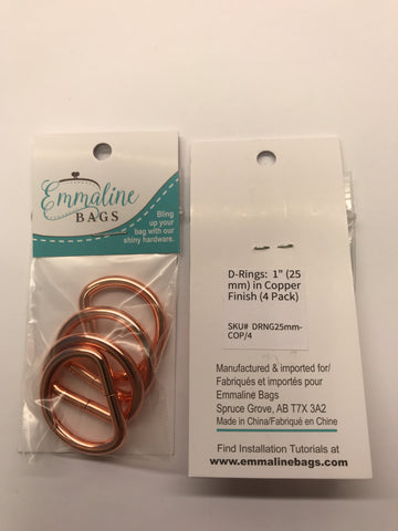 "D Rings - 1"" - Copper Finish - 4 pack"