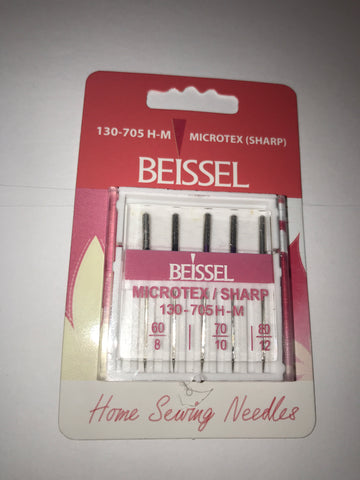 Beissel Sewing Machine Needles - 60/8, 70/10, 80/12 Microtex - 130-705HM