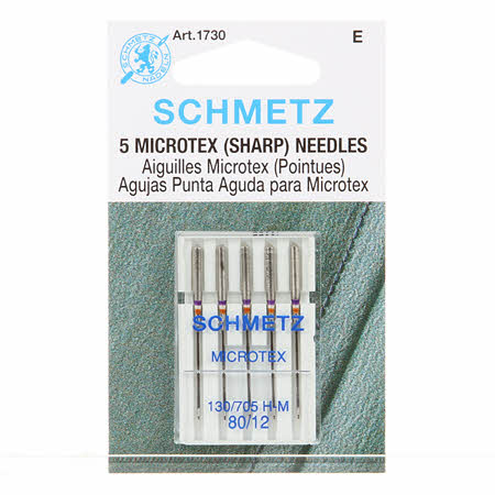 5 Schmetz Microtex (Sharp) Needles 80/12 - 1730 E