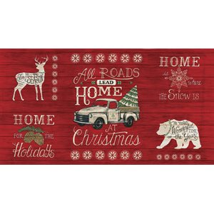 "Holiday Lodge - Berry Red - 519890-11 - panel (23"")"