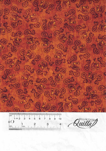 Sunrise Farms - Rooster Scrollwork - Rust - 27422 T