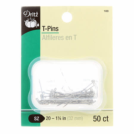 "T-pins - size 20 x 1 1/4"" (32mm) - 50 count - DZ109"
