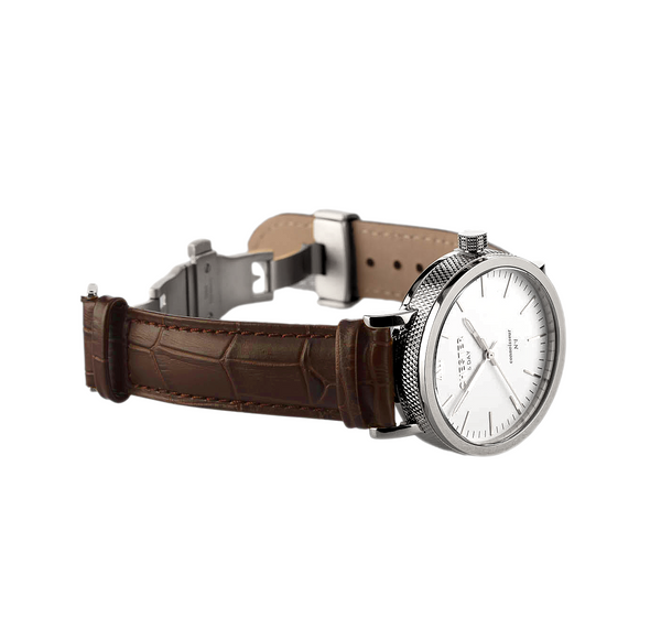 connoisseur steel/white + dark brown croc strap