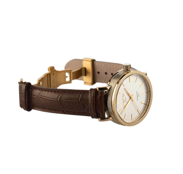 connoisseur gold/white + dark brown croc strap