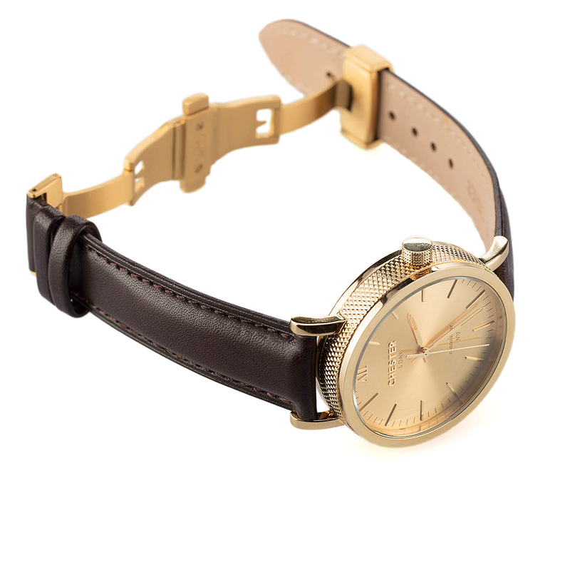 connoisseur gold + dark brown strap