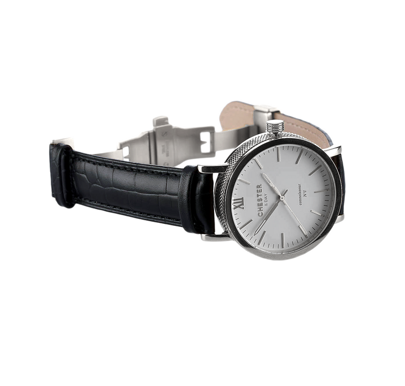 connoisseur steel/white + black croc strap