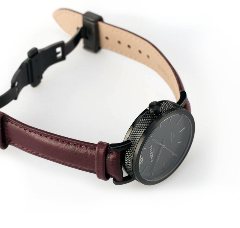 connoisseur black smoke + burgundy strap